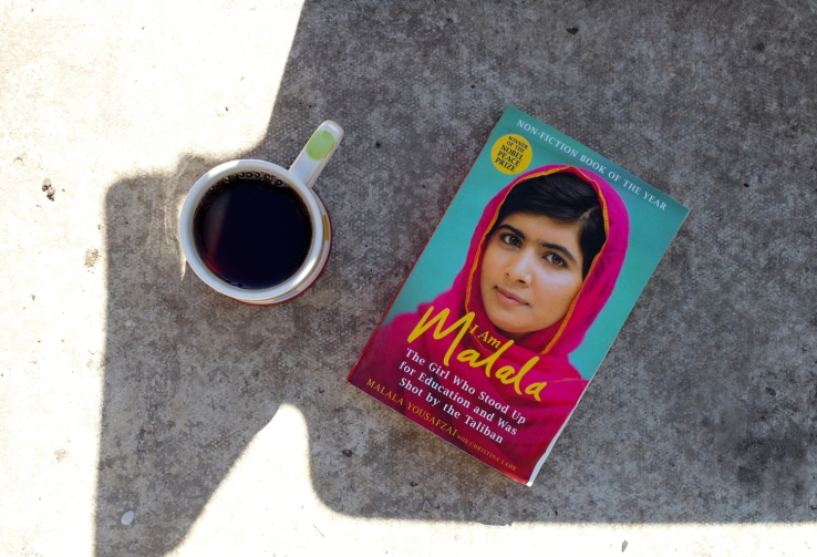 I am Malala by Malala Yousafzai and a cup of tea. Reading in the sunshine. What I'm reading.