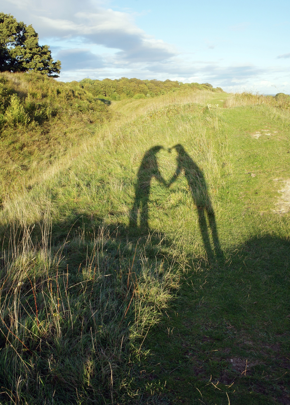 Heart made with shadows on an evening walk in the sunshine. Autumn walk in the sunshine, Badbury Rings, Dorset.