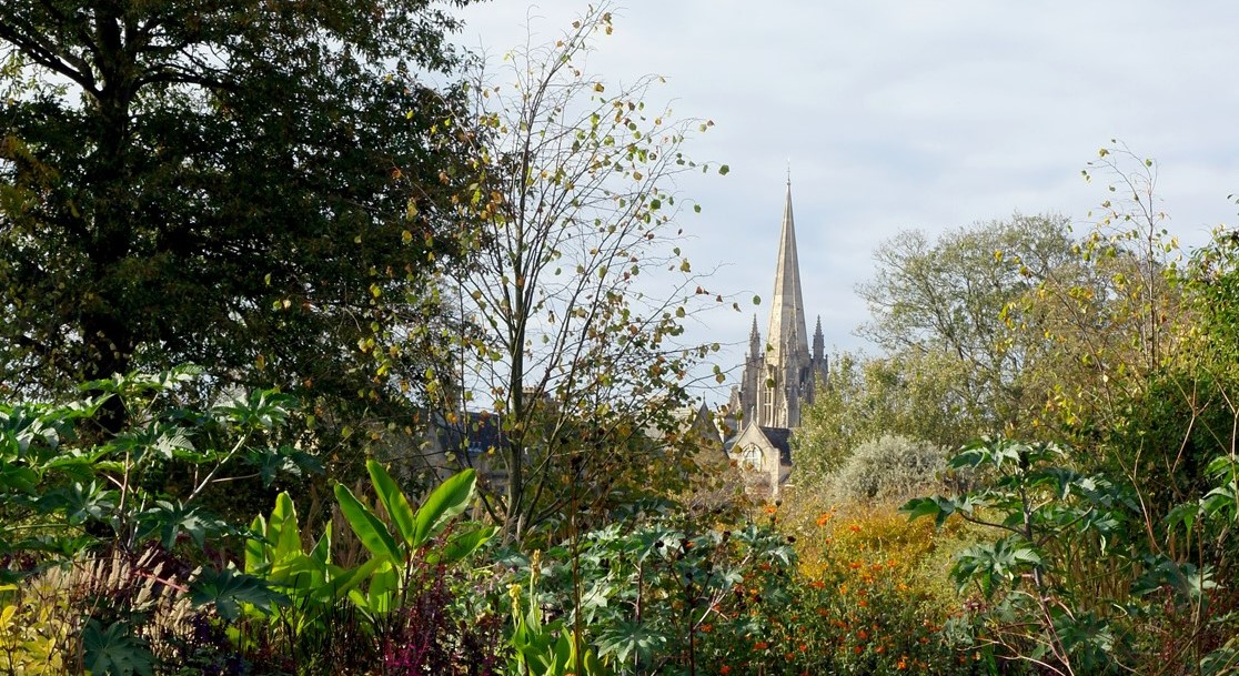 Dreaming spires of Oxford. Autumn view from the Oxford Botanic Garden.