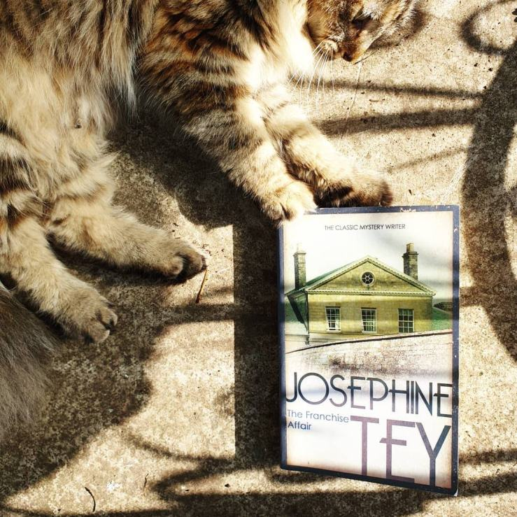Poppy the cat and The Franchise Affair by Josephine Tey.