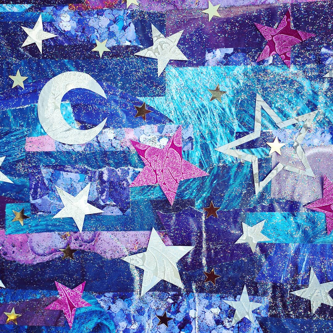 Celestial night sky paper collage, made from recycled magazine pages.