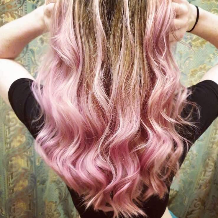 Pastel pink balayage on long hair